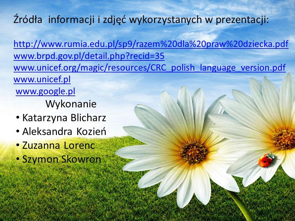 Źródła informacji i zdjęć wykorzystanych w prezentacji:
