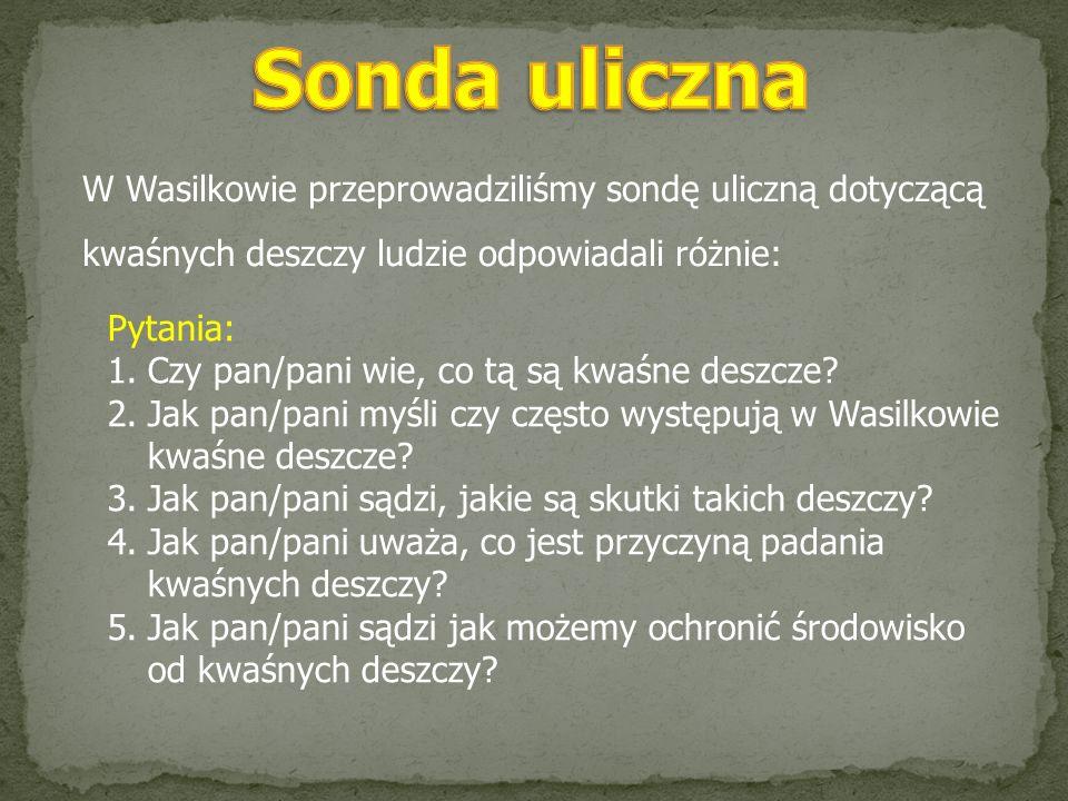 Sonda uliczna W Wasilkowie przeprowadziliśmy sondę uliczną dotyczącą kwaśnych deszczy ludzie odpowiadali różnie: