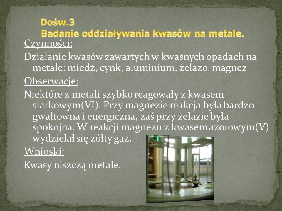 Badanie oddziaływania kwasów na metale.