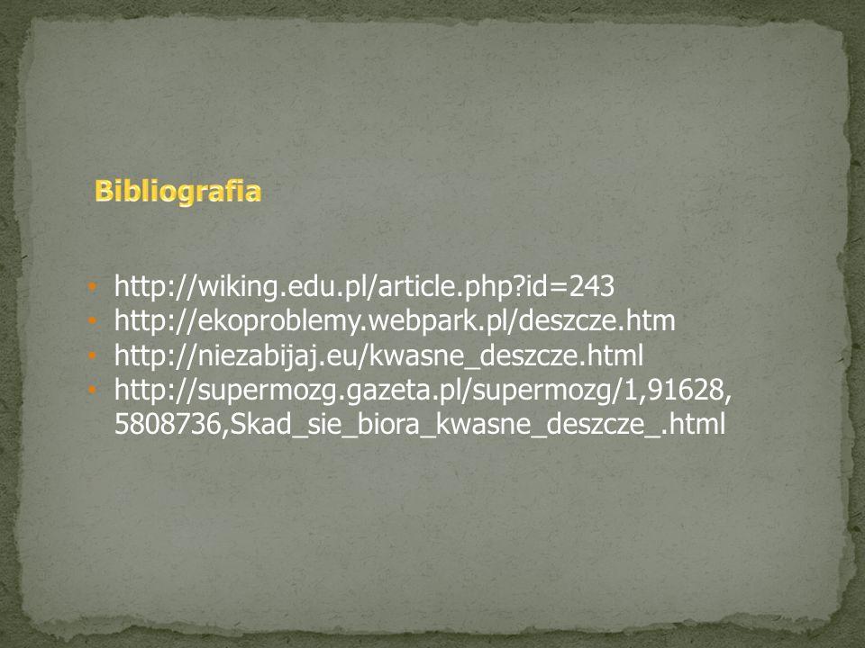 Bibliografia http://wiking.edu.pl/article.php id=243. http://ekoproblemy.webpark.pl/deszcze.htm. http://niezabijaj.eu/kwasne_deszcze.html.