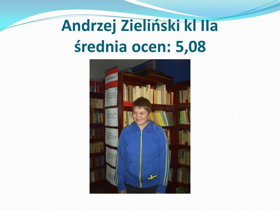 Andrzej Zieliński kl IIa średnia ocen: 5,08