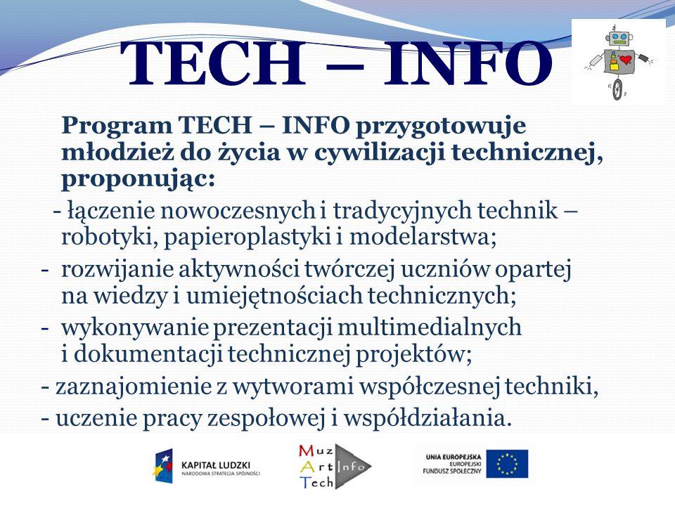 TECH – INFO Program TECH – INFO przygotowuje młodzież do życia w cywilizacji technicznej, proponując: