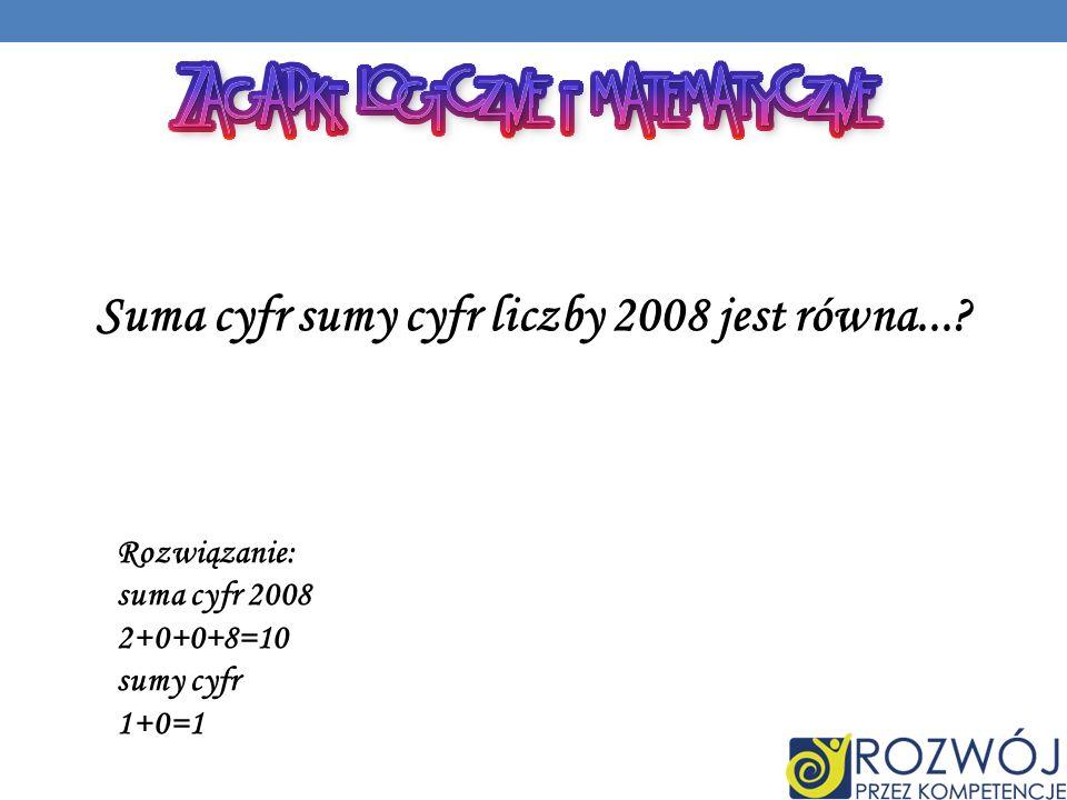 Suma cyfr sumy cyfr liczby 2008 jest równa...