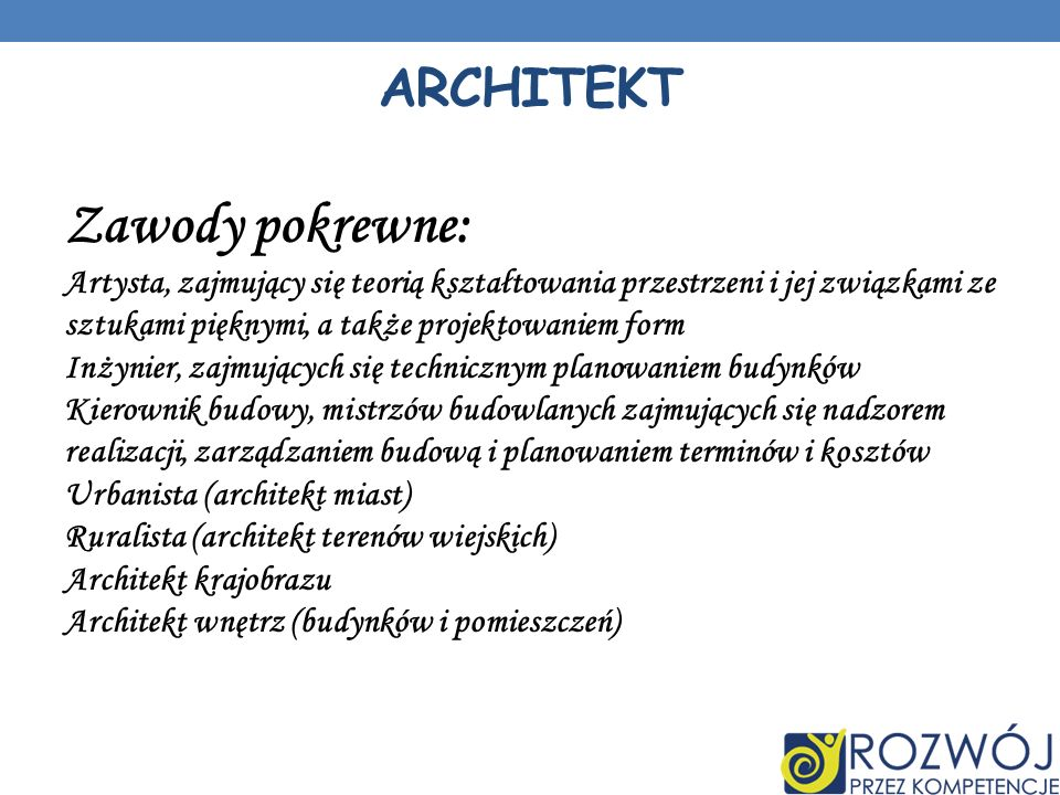 Zawody pokrewne: architekt