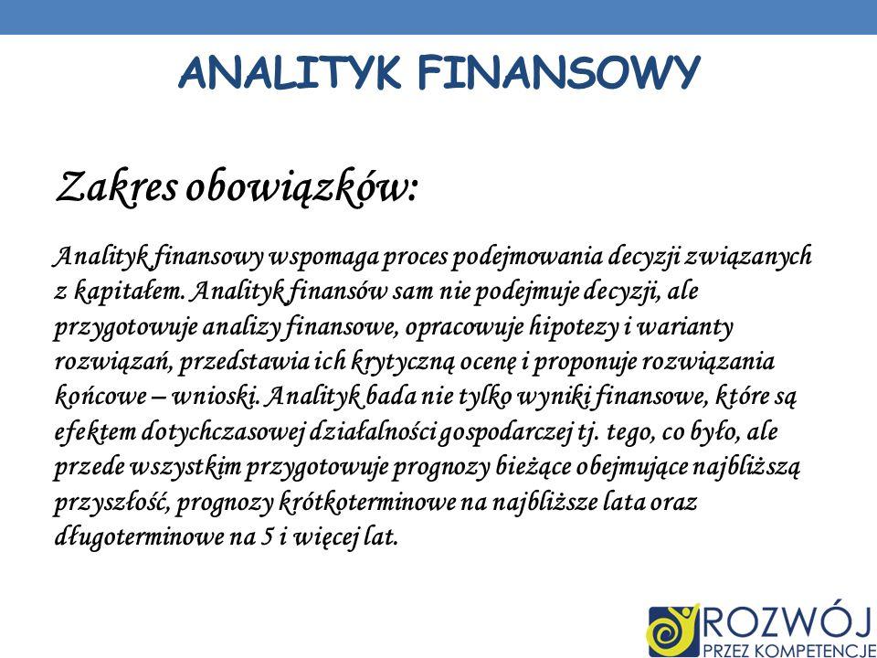 Zakres obowiązków: Analityk finansowy