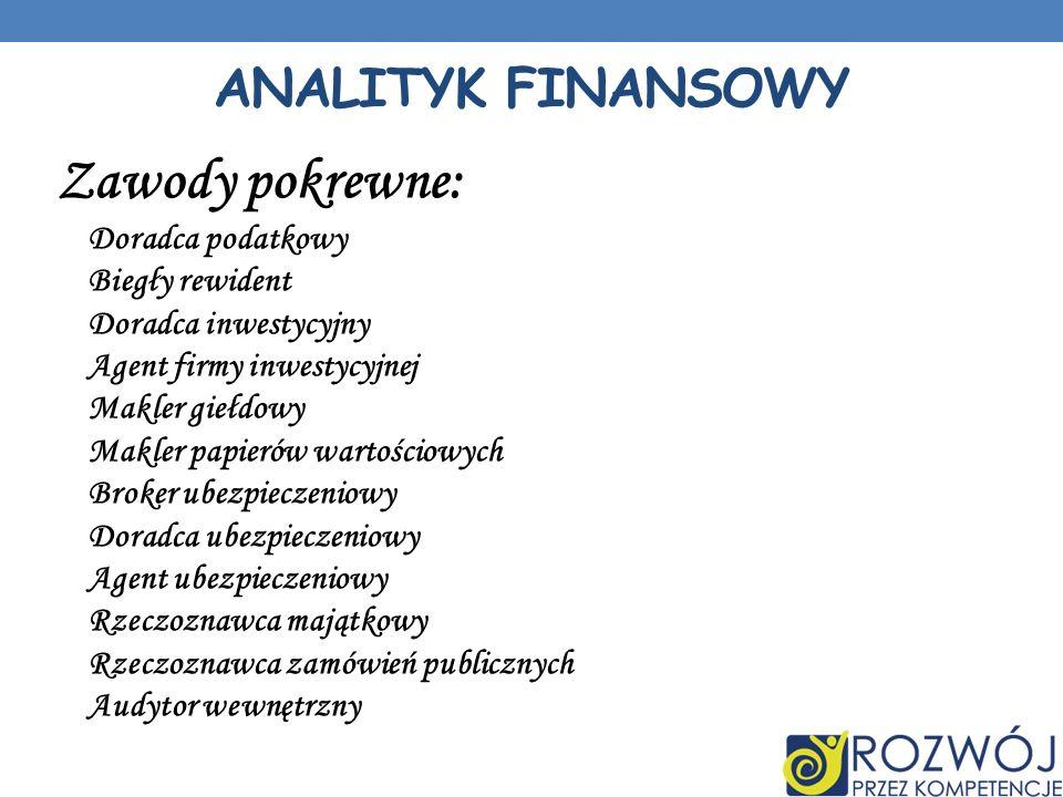 Zawody pokrewne: Analityk finansowy Doradca podatkowy Biegły rewident