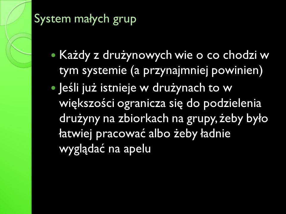 System małych grupKażdy z drużynowych wie o co chodzi w tym systemie (a przynajmniej powinien)