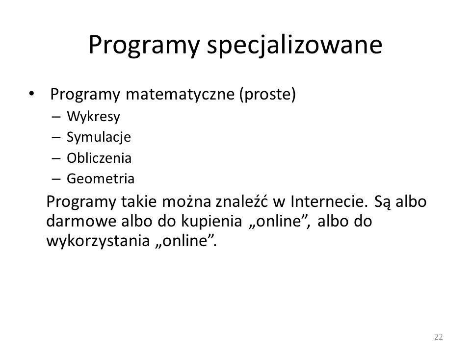 Programy specjalizowane