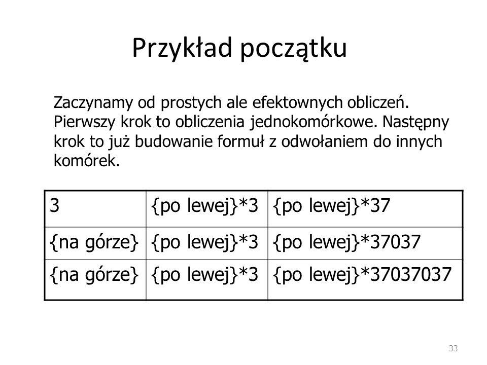 Przykład początku 3 {po lewej}*3 {po lewej}*37 {na górze}
