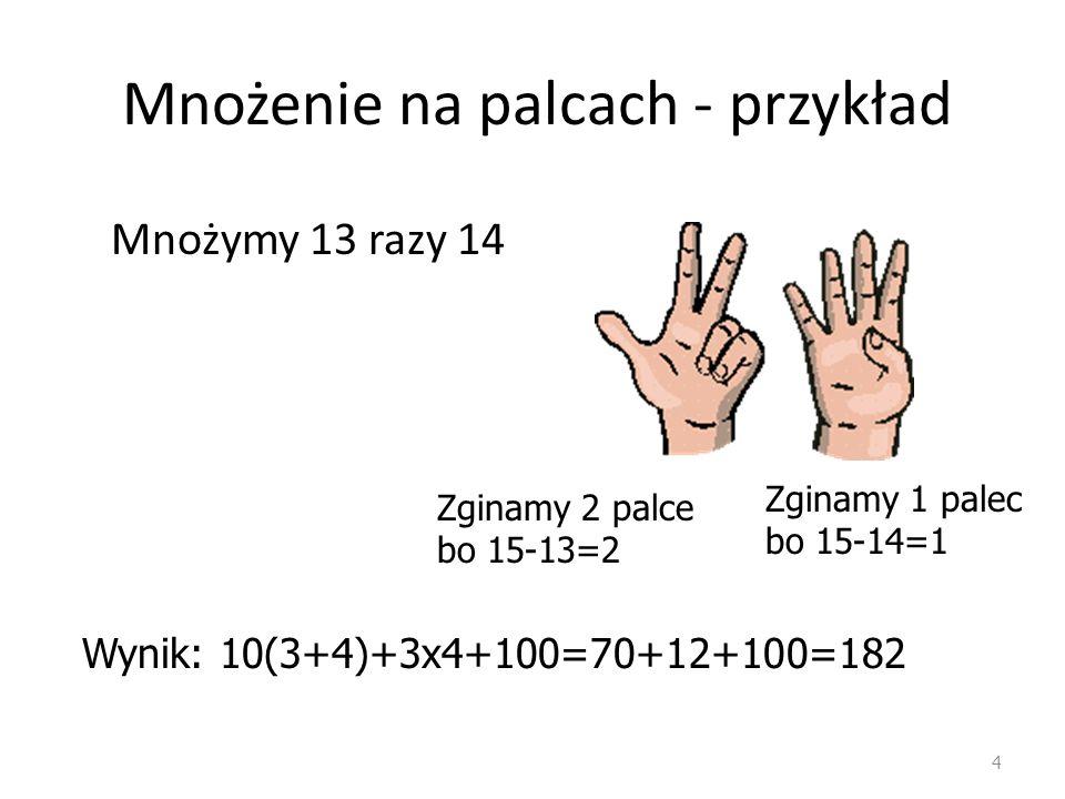 Mnożenie na palcach - przykład