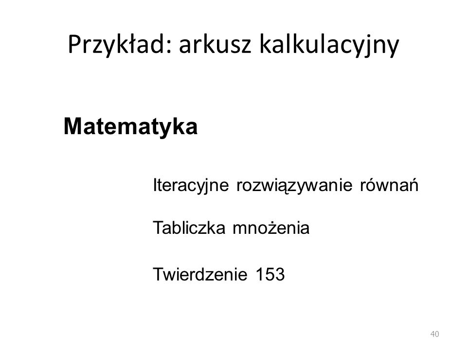 Przykład: arkusz kalkulacyjny