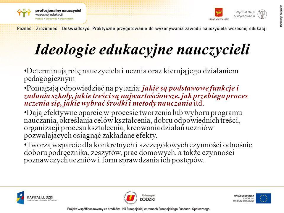 Ideologie edukacyjne nauczycieli