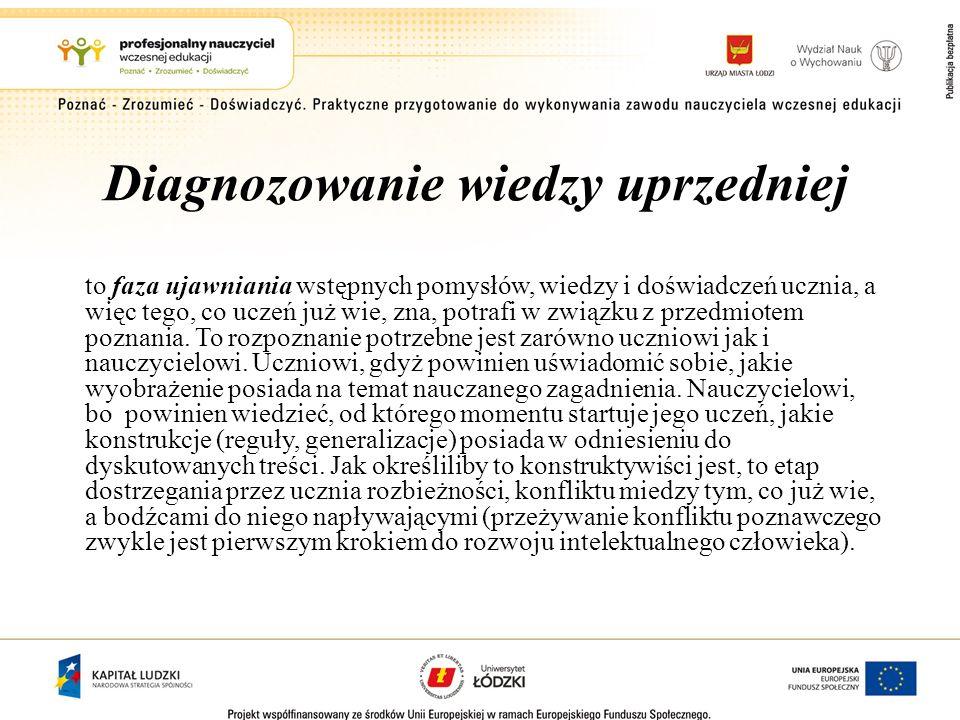 Diagnozowanie wiedzy uprzedniej