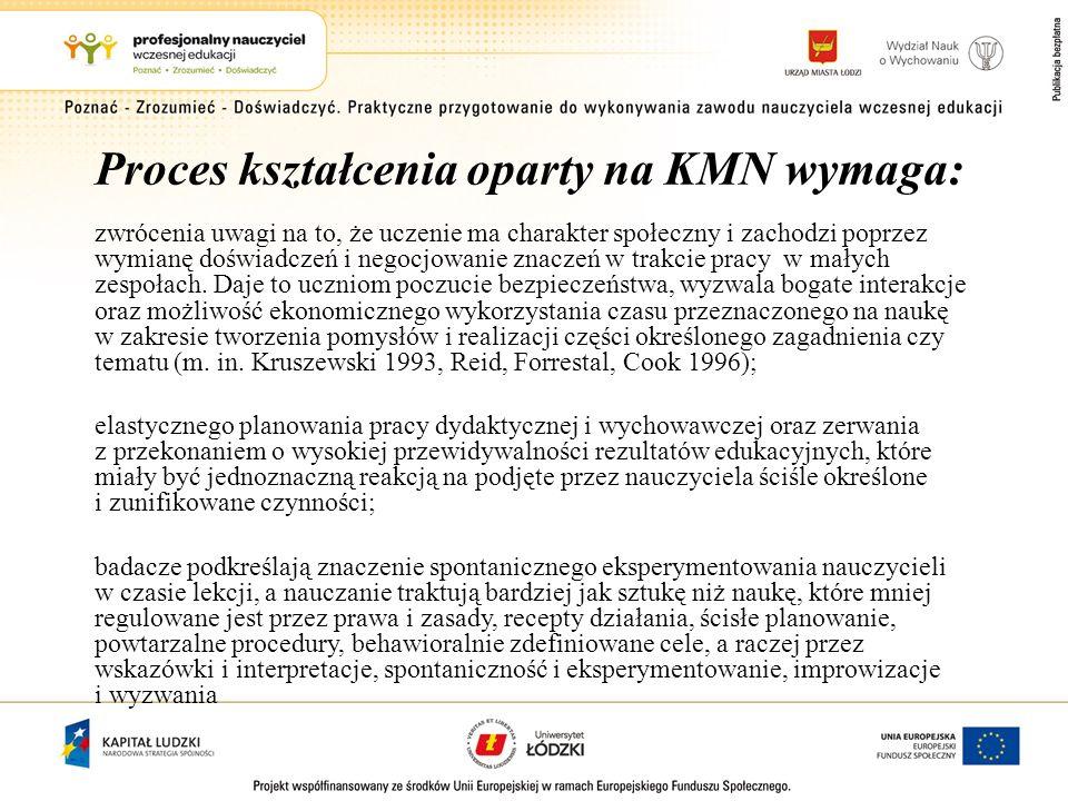 Proces kształcenia oparty na KMN wymaga: