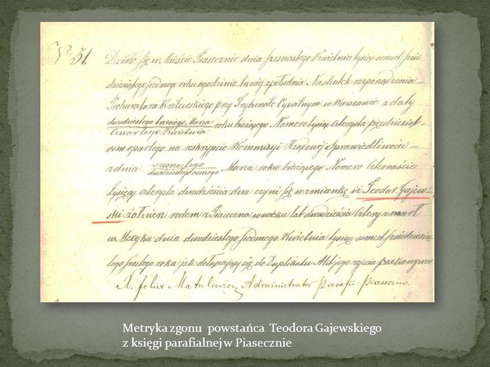Metryka zgonu powstańca Teodora Gajewskiego