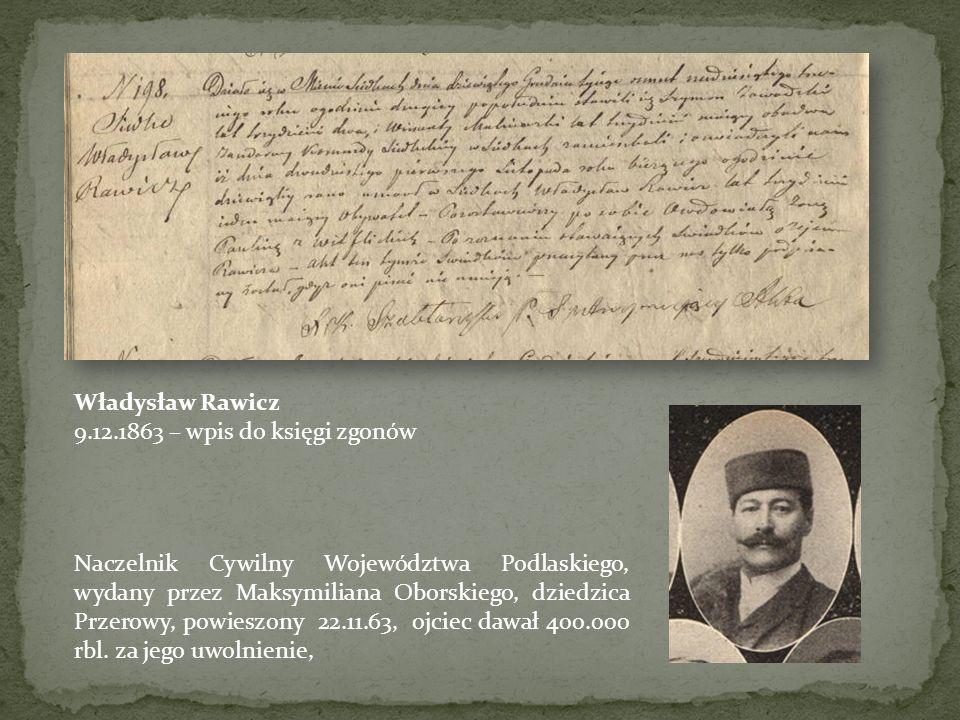 Władysław Rawicz 9.12.1863 – wpis do księgi zgonów.