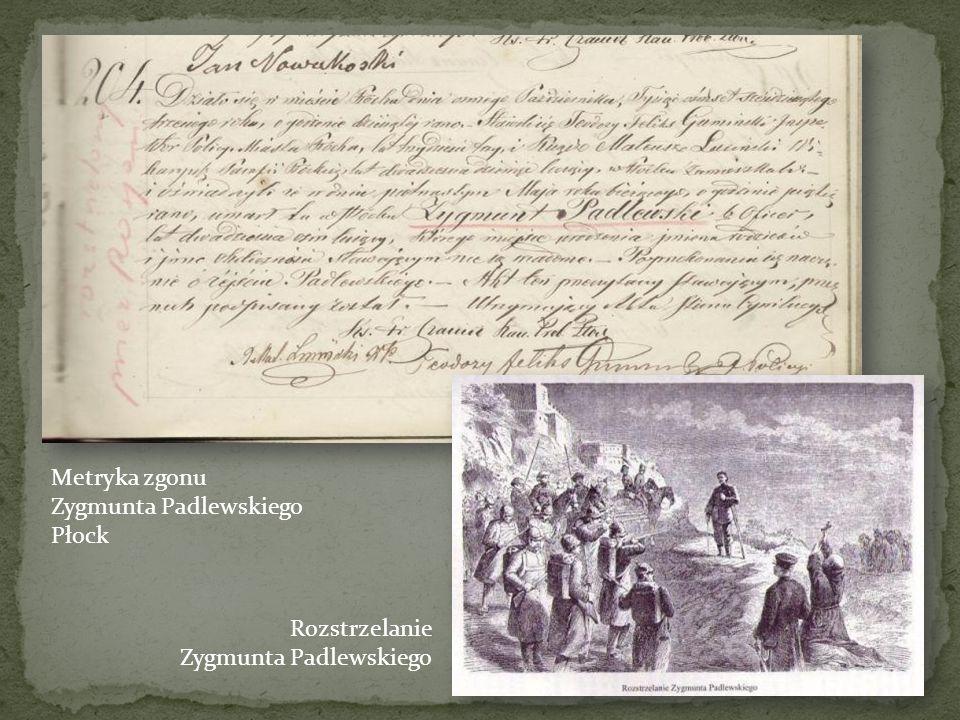 Metryka zgonu Zygmunta Padlewskiego Płock Rozstrzelanie Zygmunta Padlewskiego