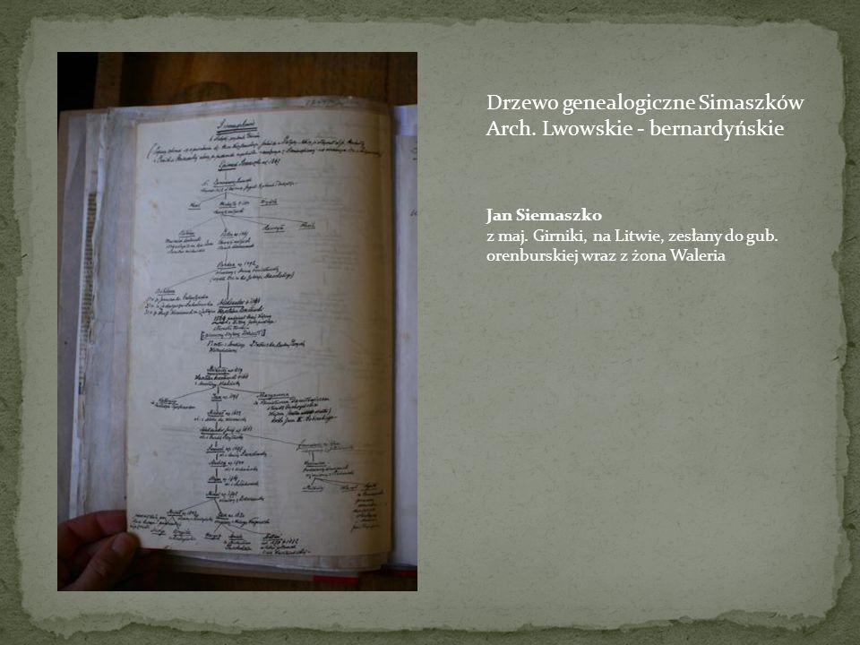 Drzewo genealogiczne Simaszków Arch. Lwowskie - bernardyńskie