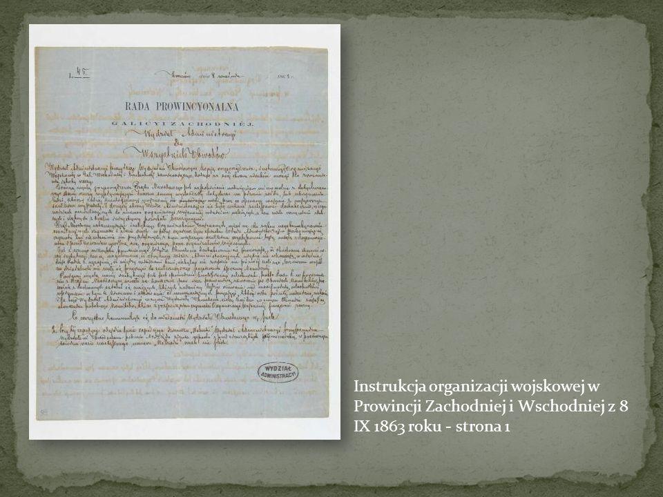 Instrukcja organizacji wojskowej w Prowincji Zachodniej i Wschodniej z 8 IX 1863 roku - strona 1