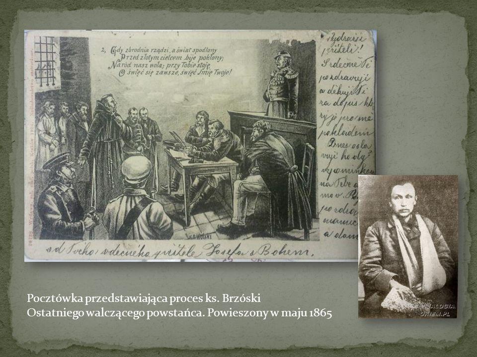 Pocztówka przedstawiająca proces ks. Brzóski