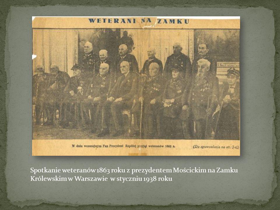 Spotkanie weteranów 1863 roku z prezydentem Mościckim na Zamku Królewskim w Warszawie w styczniu 1938 roku