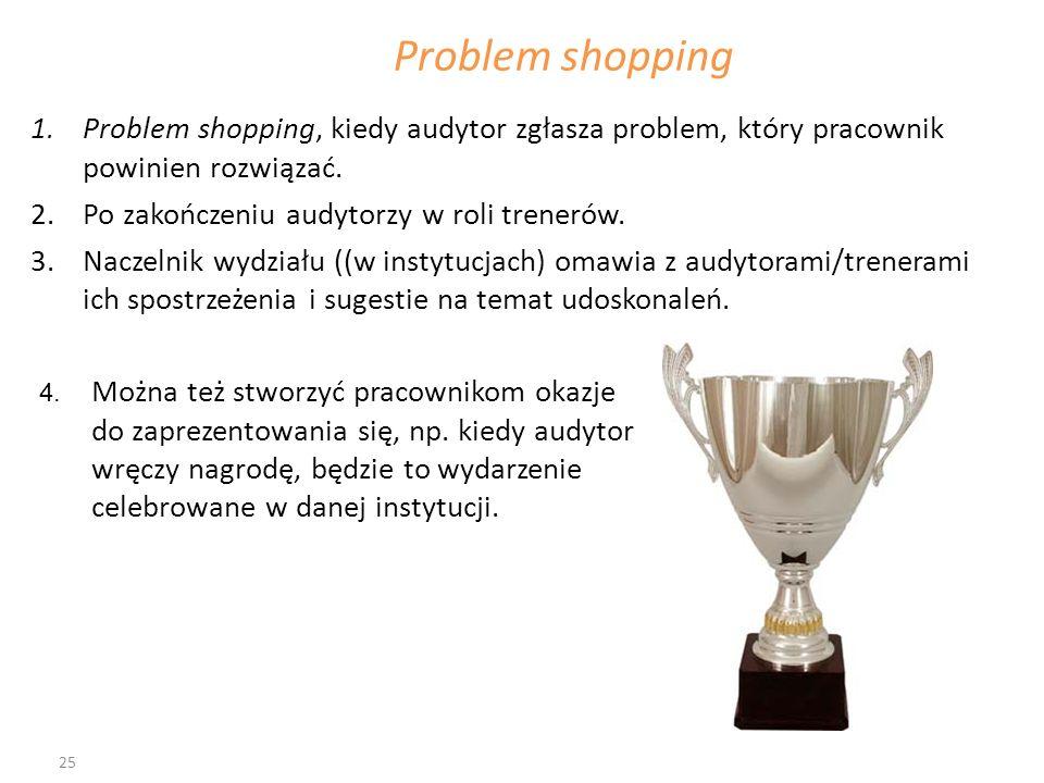 Problem shopping Problem shopping, kiedy audytor zgłasza problem, który pracownik powinien rozwiązać.