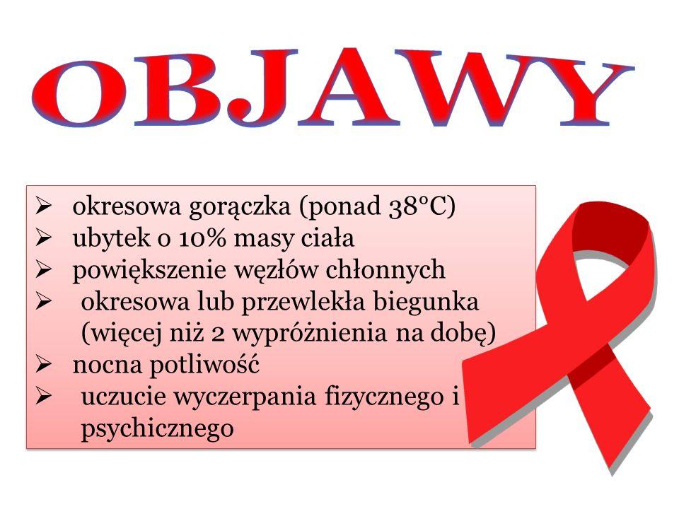 OBJAWY okresowa gorączka (ponad 38°C) ubytek o 10% masy ciała