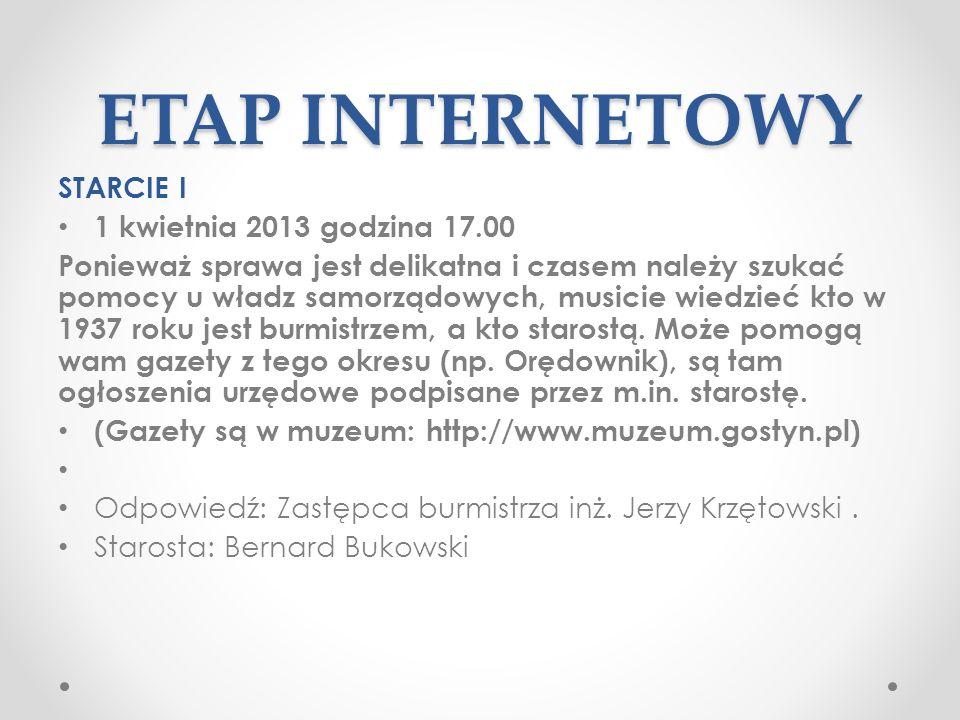 ETAP INTERNETOWY STARCIE I 1 kwietnia 2013 godzina 17.00
