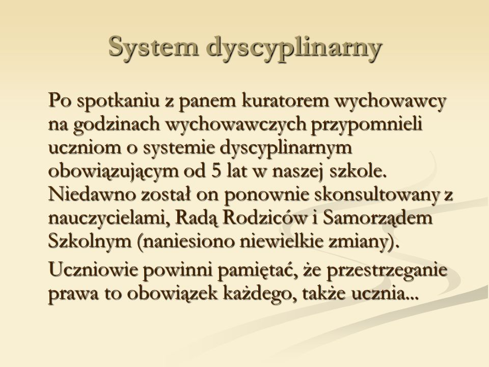 System dyscyplinarny