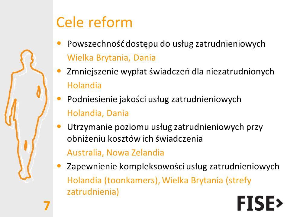 Cele reform Powszechność dostępu do usług zatrudnieniowych