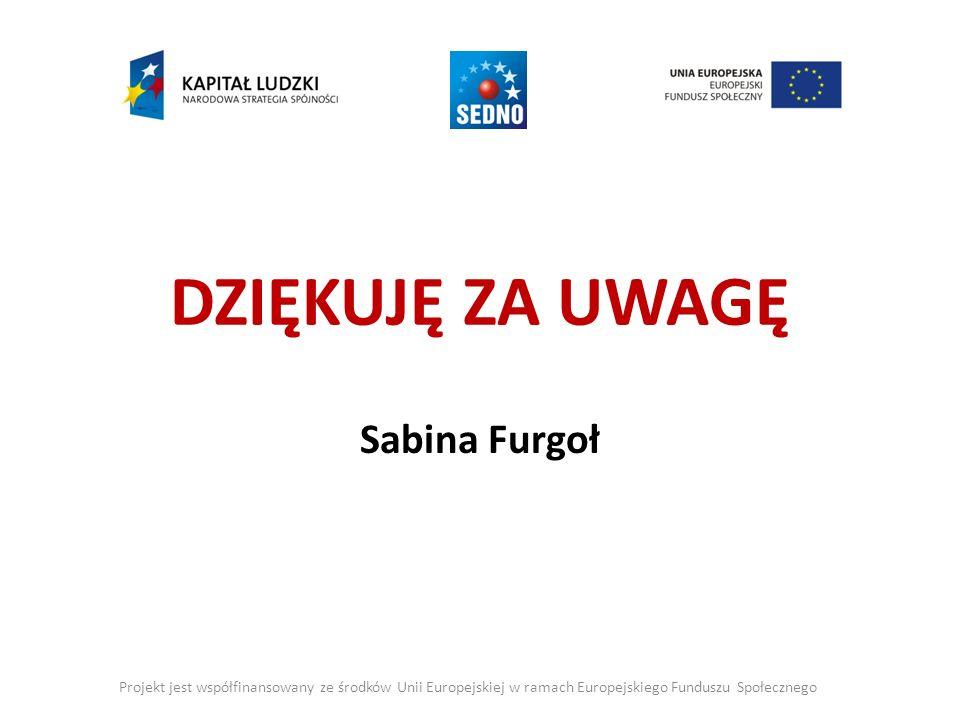 DZIĘKUJĘ ZA UWAGĘ Sabina Furgoł