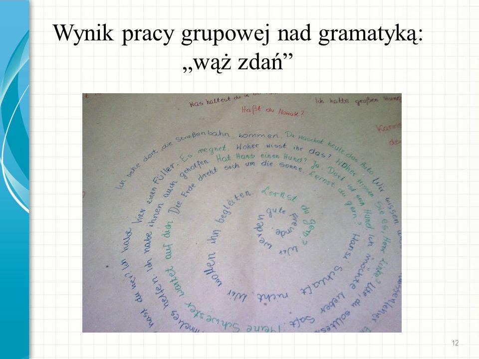 Wynik pracy grupowej nad gramatyką: