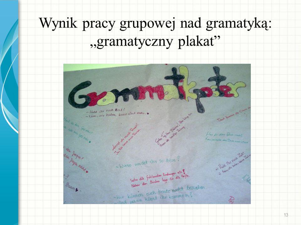 """Wynik pracy grupowej nad gramatyką: """"gramatyczny plakat"""