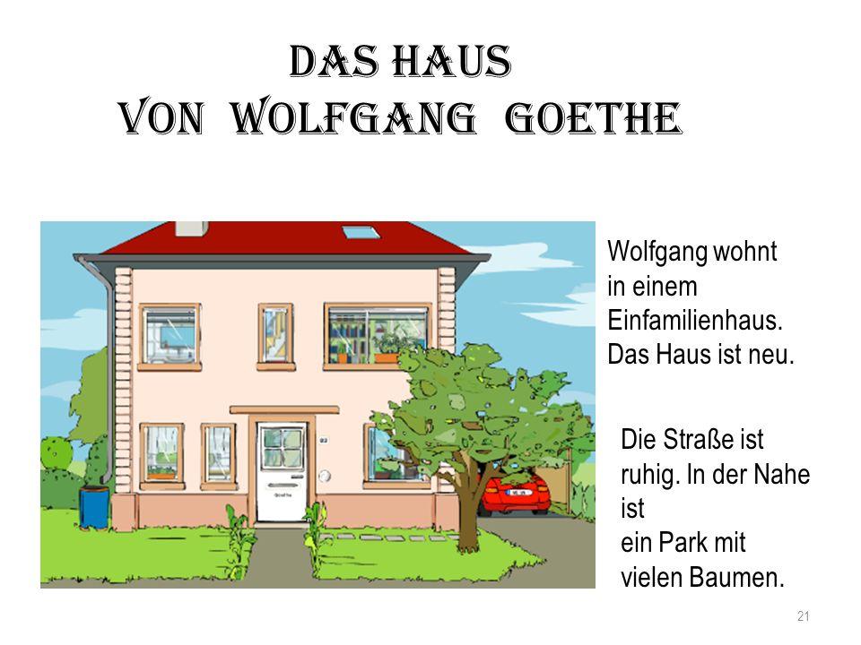 Das Haus von Wolfgang Goethe Wolfgang wohnt in einem Einfamilienhaus.