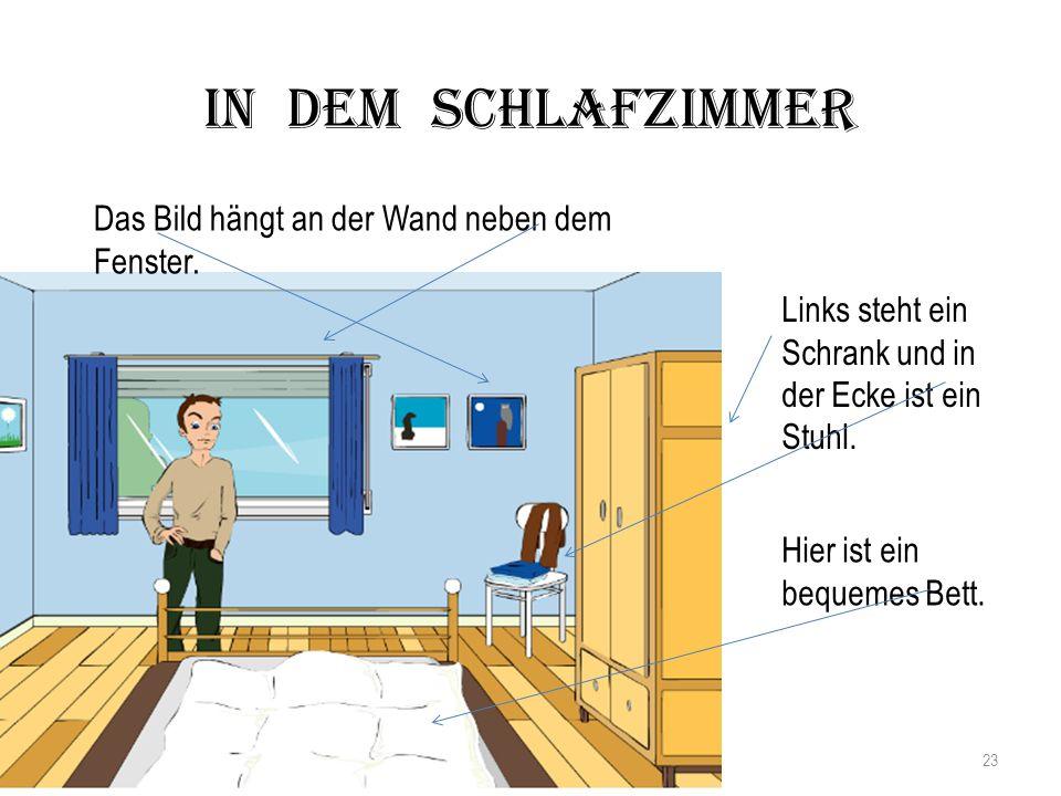In dem Schlafzimmer Das Bild hängt an der Wand neben dem Fenster.
