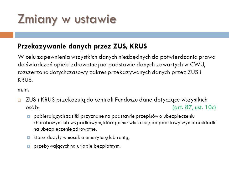 Zmiany w ustawie Przekazywanie danych przez ZUS, KRUS