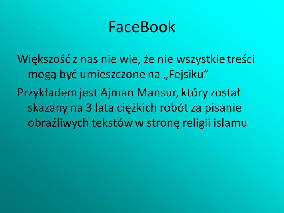 """FaceBook Większość z nas nie wie, że nie wszystkie treści mogą być umieszczone na """"Fejsiku"""