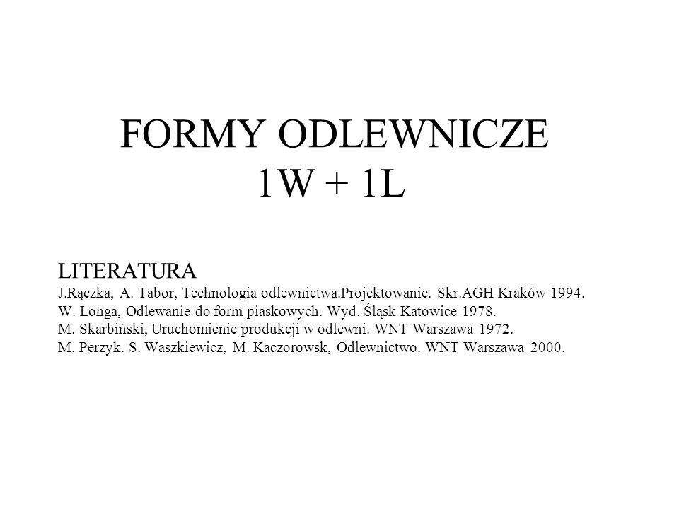 FORMY ODLEWNICZE 1W + 1L LITERATURA J. Rączka, A