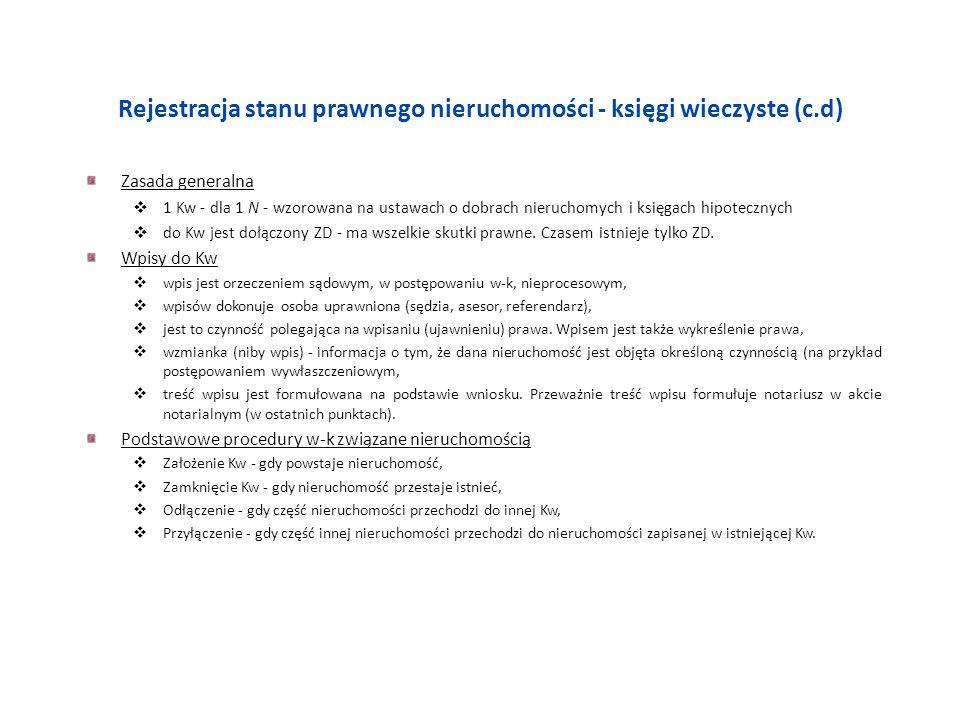 Rejestracja stanu prawnego nieruchomości - księgi wieczyste (c.d)