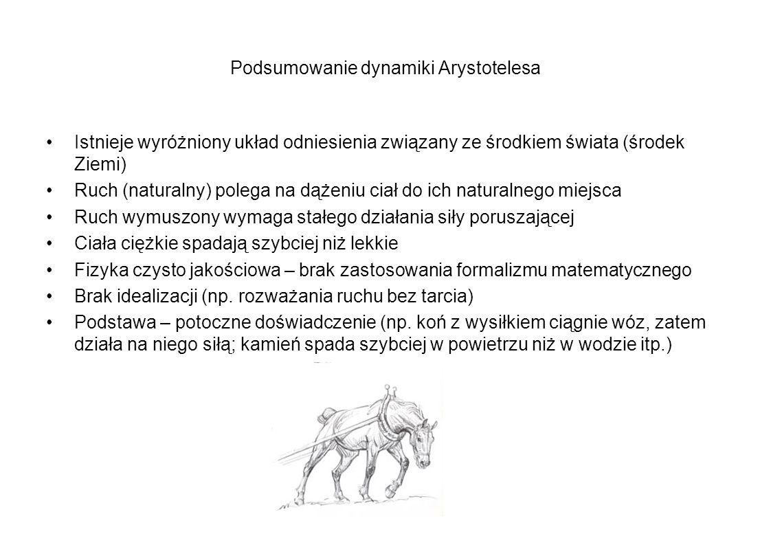 Podsumowanie dynamiki Arystotelesa