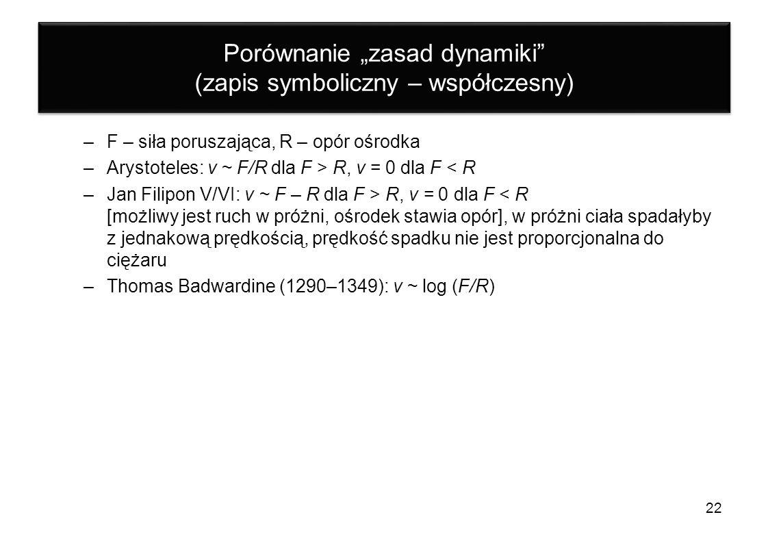 """Porównanie """"zasad dynamiki (zapis symboliczny – współczesny)"""