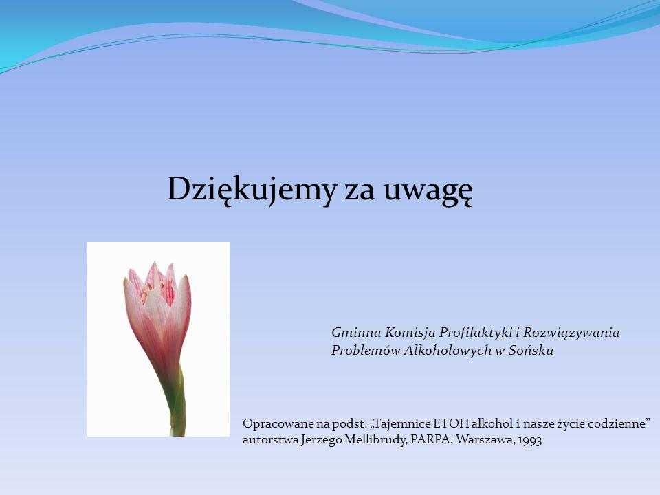 Dziękujemy za uwagę Gminna Komisja Profilaktyki i Rozwiązywania Problemów Alkoholowych w Sońsku.