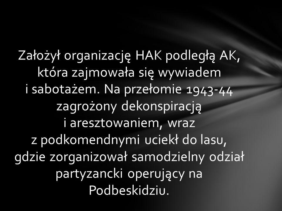 Założył organizację HAK podległą AK, która zajmowała się wywiadem i sabotażem.