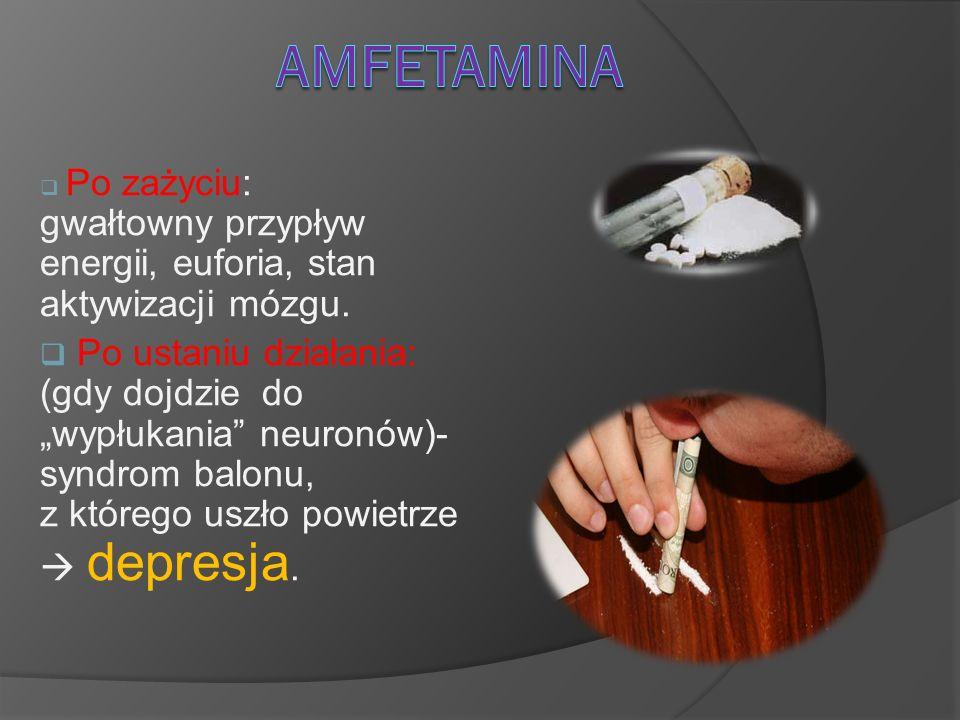 Amfetamina Po zażyciu: gwałtowny przypływ energii, euforia, stan aktywizacji mózgu.