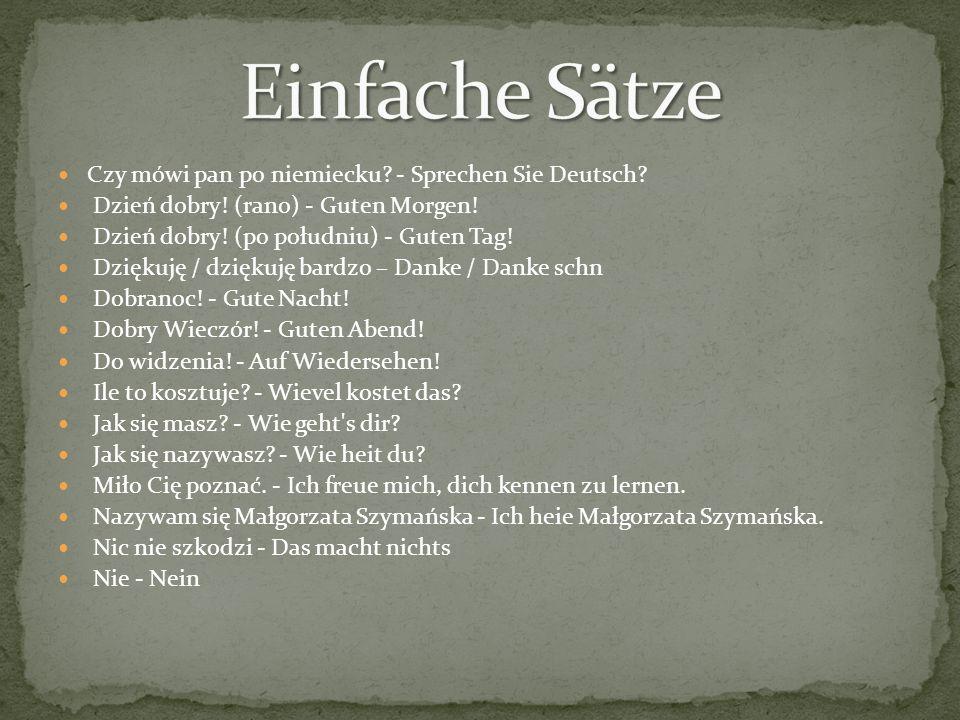 Einfache Sätze Czy mówi pan po niemiecku - Sprechen Sie Deutsch