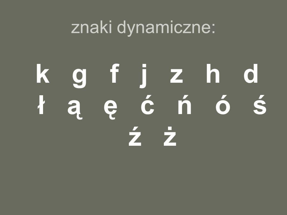 znaki dynamiczne: k g f j z h d ł ą ę ć ń ó ś ź ż