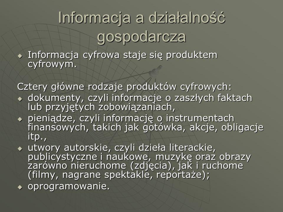 Informacja a działalność gospodarcza