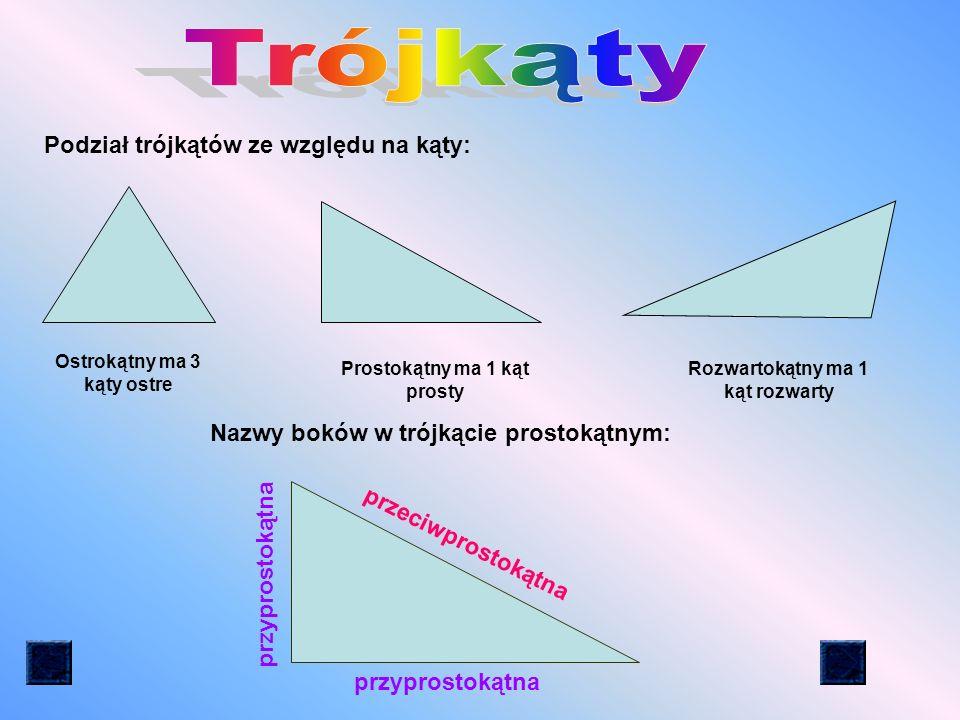 Trójkąty Podział trójkątów ze względu na kąty: