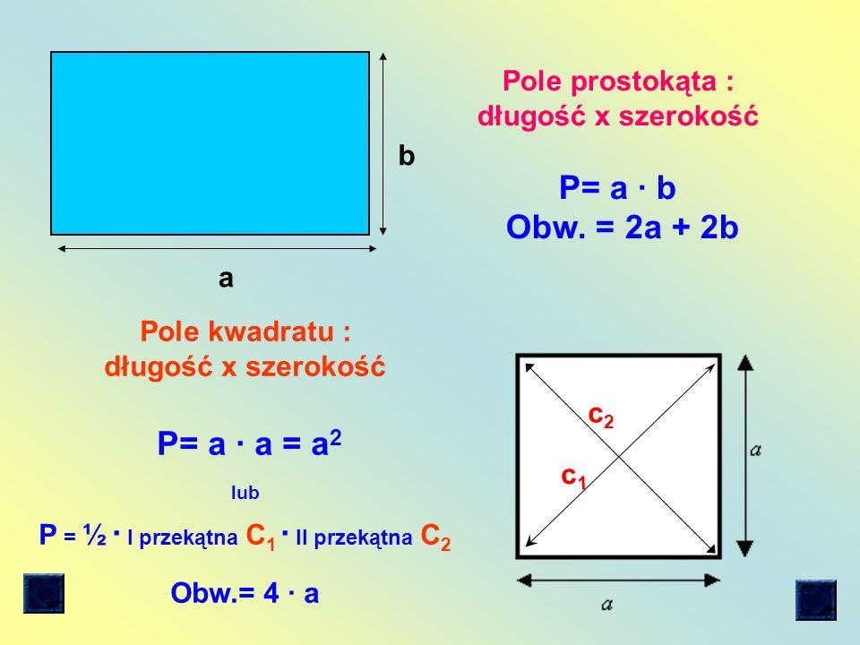 P = ½ ∙ I przekątna C1 ∙ II przekątna C2