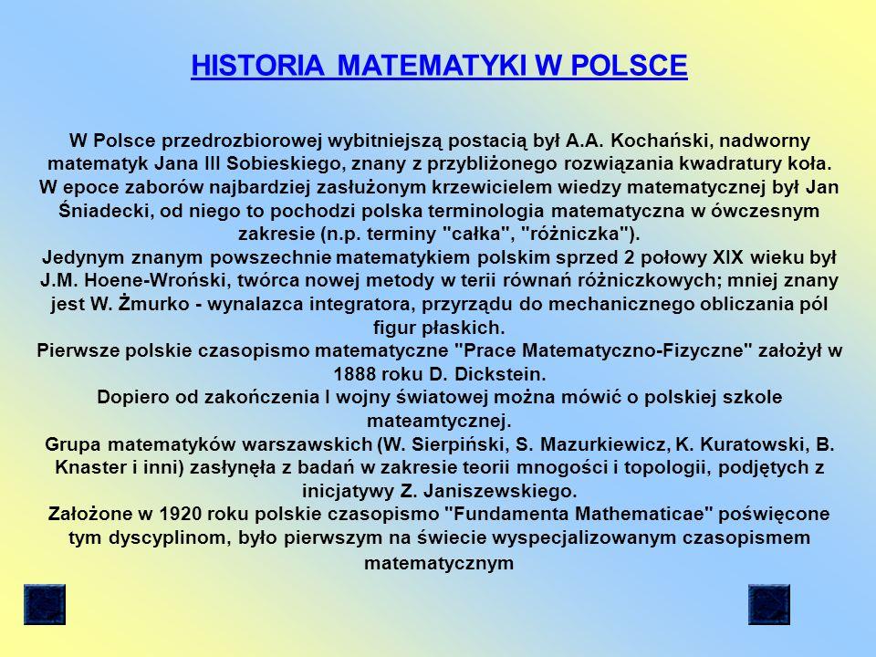 HISTORIA MATEMATYKI W POLSCE